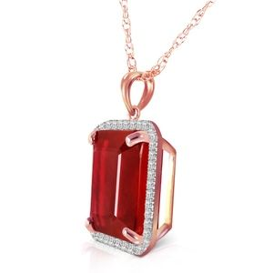 14K. SOLID GOLD NECKLACE  NATURAL DIAMONDS & RUBY